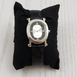 Jaclyn Smith Watch Black Leather Band Silver Tone